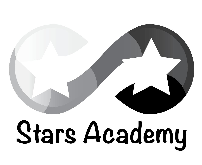 stars academy black and white logo